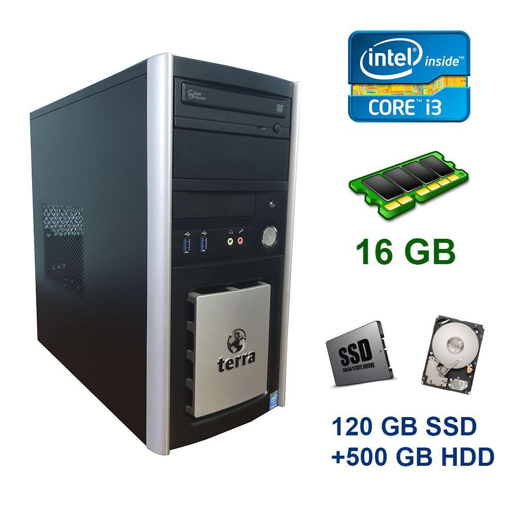 Terra PC Tower / Intel Core i3-4170 (2 (4) ядра по 3.7 GHz) / 16 GB DDR3 / 120 GB SSD+500 GB HDD / DVD ROM