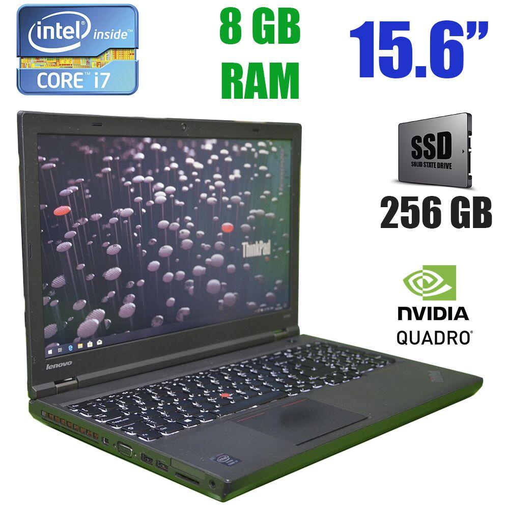 Lenovo ThinkPad W540 /  15.6 (1920x1080) / Intel Core i7-4700MQ (4(8)ядер по 2.4-3.4GHz) / 8 GB DDR3 / 256 GB SSD / Nvidia Quadro K2100M, 2Gb, GDDR5, 128Bit / web-cam