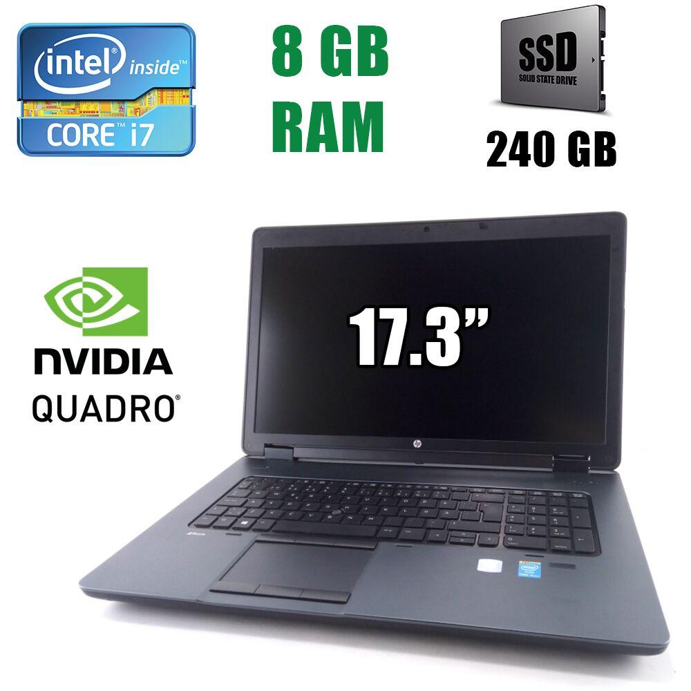 """Hewlett Packard / HP ZBook 17 G2 Workstation / 17.3"""" (1600x900) / Intel Core i7-4700MQ (4(8)ядра по 2.40-3.40GHz) / 8 GB DDR3 / 240 GB SSD / nVidia Quadro K1100M 2GB"""