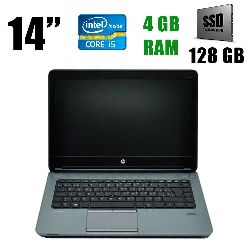 """Hewlett Packard / HP ProBook 640 G1 / 14"""" / 1366х768 / Intel® Core™ i5-4200M (2(4)ядра по 2.5 - 3.1GHz) /4GB DDR3 / 128GB SSD / VGA, DP, Web camera"""