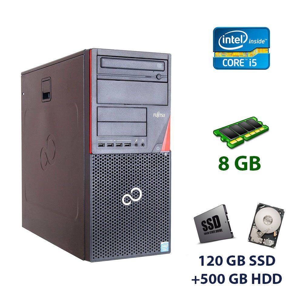 Fujitsu Esprimo P720 E85+ Tower / Intel Core i5-4430 (4 ядра по 3.0 - 3.2 GHz) / 8 GB DDR3 / 120 GB SSD+500 GB HDD / nVidia GeForce GTX 1050 Ti, 4 GB GDDR5, 128-bit Fujitsu-Siemens