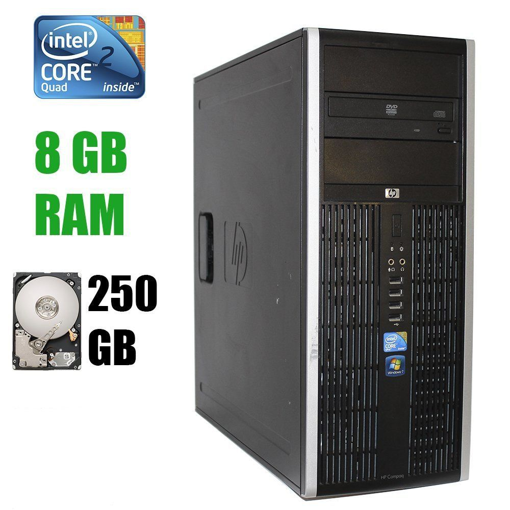 HP Elite 8000 Tower / Intel Core 2 Quad Q9500 (4 ядра по 2.83 GHz) / 8 GB DDR3 / 250 GB HDD Hewlett Packard
