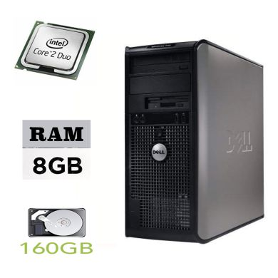 DELL Optiplex 755 Tower / Intel Core 2 Duo E7500 (2 ядра по 2.9GHz) / 8GB DDR2 / 160GB HDD