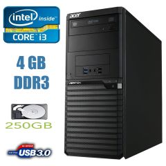 Acer Veriton M2632G Tower / Intel Core i3-4170 (2(4)ядра по 3.7GHz) / 4 GB DDR3 / 250 GB HDD