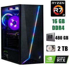 FirstPlayer Rainbow-R7 / AMD Ryzen 7 3800X (8(16)ядер по 3.9-4.5GHz) / 16 GB DDR4 / 480 GB SSD+2000 GB HDD / БП 800W / GeForce RTX 2080 8GB GDDR6 256bit
