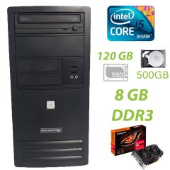 Bluechip Tower / Intel Core i5-3470 (4 ядра по 3.20 - 3.60GHz) / 8GB DDR3 / 120GB SSD new+500GB HDD / Radeon RX560 2GB GDDR5 128 bit / FSP 350W / DVD-RW