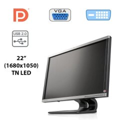 "Монітор HP Compaq LA2205wg / 22"" (1680x1050) TN LED / DVI-D, VGA, DP, USB-Hub"
