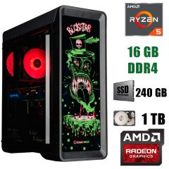 GameMax RockStar / AMD Ryzen 5 3600 (6(12)ядер по 3.6 - 4.2GHz) / 16 GB DDR4 / 240 GB SSD+1000 GB HDD / БП 600W / AMD Radeon RX 5700 8 GB GDDR6 256bit