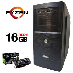 FRIME ATX / AMD Ryzen™ 5 1600Х (6 (12) ядер по 3.60 - 4.0 GHz) / 16GB DDR4 / 120GB SSD NEW + 500GB HDD / БП 500W / GeForce GTX 1060 (3Gb GDDR5 192bit)
