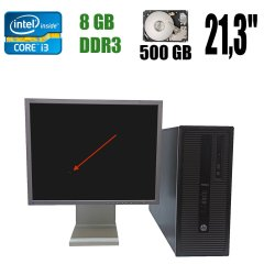 "HP EliteDesk 800 G1 Mini Tower / Intel Core i3-4130 (2(4) ядра по 3.40 GHz) / 8 GB DDR3 / 500 GB HDD + Монітор (уцінка) NEC MultiSync LCD2180U / 21,3"" (1600x1200) S-IPS / DVI, VGA - царапина на матриці"