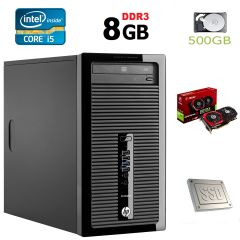 HP 400 G1 MT / Intel Core i5-4460 (4 ядра по 3.4GHz) / 8GB DDR3 / 120GB SSD + 500GB HDD / GeForce GTX 1050Ti 4GB GDDR5 / БП-500W