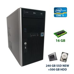 Hyundai Black Tower / Intel Core i5-3470 (4 ядра по 3.2 - 3.6 GHz) / 16 GB DDR3 / 240 GB SSD NEW+500 GB HDD / AMD Radeon RX 550, 2 GB GDDR5, 128-bit / 300W / DVD-RW + Игровая клавиатура + Игровая мышь
