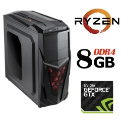 Xigmatech Mach II MT / AMD Ryzen™ 5 1400 (4 (8) ядра по 3.2 - 3.4 GHz) / 8 GB DDR4 / 1 TB HDD + 120 GB SSD / NVIDIA GeForce GTX 1050 Ti (4 GB GDDR5 128-bit)