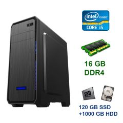 Tower / Intel Core i5-9400F (6 ядер по 2.9 - 4.1 GHz) / 16 GB DDR4 / 120 GB SSD+1000 GB HDD / nVidia GeForce GTX 1070, 8 GB GDDR5, 256-bit / 600W