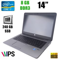 "HP EliteBook 840 G2 / 14"" (1920x1080) IPS / Intel® Core™ i7-5500U (2(4)ядра по 2.4 - 3.0GHz) / 8GB DDR3 / 240GB SSD / VGA, DisplayPort"