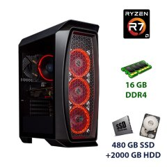 Aerocool Aero One Tower / AMD Ryzen 7 3700X (8 (16) ядер по 3.6 - 4.4 GHz) / 16 GB DDR4 / 480 GB SSD+2000 GB HDD / nVidia GeForce RTX 2060 Super, 8 GB GDDR6, 256-bit / 600W