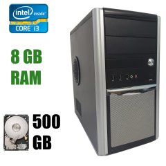 Hyundai Pentino Silver Tower / Intel Core i3-4130 (2 (4) ядра по 3.4 GHz) / 8 GB DDR3 / 500 GB HDD / БП FSP 300W