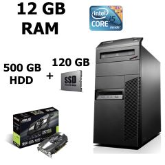 Lenovo M83 Tower / Intel® Core™ i5-4570 (4 ядра по 3.20 - 3.60 GHz) / 12GB DDR3 / 500GB HDD + SSD Kingston 120GB NEW / Відеокарта GF GTX 1060 (3GB DDR5 192bit) (HDMI,DVI,DP)  / БП 500W NEW