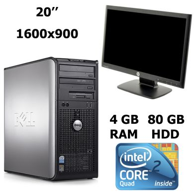 DELL Optiplex 760 MT / Intel® Core™2 Quad Q8200 (4 ядра по 2.33 GHz) / 4 GB DDR2 / 80 GB HDD + Монитор  HP  ProDisplay P201 / 20'' / Class A 1600 x 900 (16:9) TN WLED / VGA + DVI / Black