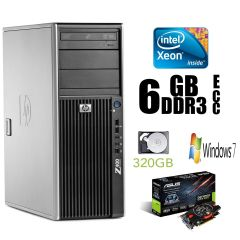 Hewlett-Packard Z400 Tower / Intel Xeon W3565 (4(8) ядра по 3.2-3.46GHz) / 6GB DDR3 ECC / 320 GB HDD / nVidia GeForce GTX 650 GDDR5 1GB 128-bit / БП 475W + лицензионная наклейка Windows 7 Pro