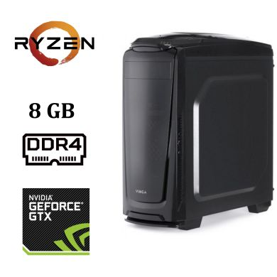 Vinga Shark Tower / AMD Ryzen™ 5 1600X (6 (12) ядер по 3.6 - 4 GHz) / 8 GB DDR4 / 1000 GB HDD / nVidia GeForce GTX 1050 Ti (4 GB GDDR5 128 bit)