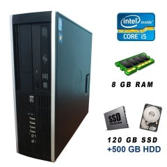 HP Compaq Elite 8300 SFF / Intel Core i5-3470 (4 ядра по 3.2 - 3.6 GHz) / 8 GB DDR3 / 120 GB SSD new + 500 GB HDD / USB 3.0 / DVD-RW