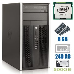 HP Compaq 6300 Pro Tower / Intel Core i5-3570 (4 ядра по 3.4 - 3.8GHz) / 8 GB DDR3 / NEW 240 GB SSD+500 GB HDD