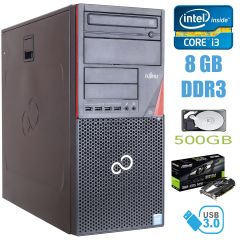 Fujitsu P720 Tower / Intel Core i3-4130 (2(4) ядра по 3.4GHz) / 8 GB DDR3 / 500 GB HDD / nVidia GeForce GT 1030 2GB GDDR5 / USB 3.0
