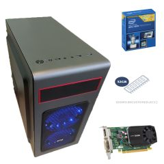 Металический MidiTower / Intel Xeon E5-2680 (8 (16) ядер по 2.7 - 3.5 GHz) new / 32 GB DDR3 ECC new / 1000 GB HDD / nVidia Quadro K620 2GB GDDR3 (128bit) / 800W new
