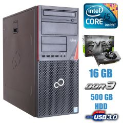 Fujitsu P720 Tower / Intel Core i5-4430 (4 ядра по 3.0 - 3.2 GHz) / 16GB DDR3 / 500GB HDD / nVidia GeForce GTX 1060 3GB GDDR5 / USB 3.0