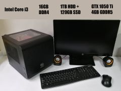 Thermaltake MicroATX / Intel Core i3-7100 (2(4) ядра по 3.9GHz) / 16GB DDR4 / 1TB HDD + 120GB SSD / Zotac GeForce GTX 1050 Ti 4GB GDDR5 / БП 500W + монитор HP 22cwa / 1920x1080 + беспроводные мышь, клавиатура + колонки
