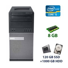Dell OptiPlex 7010 Tower / Intel Core i5-3470 (4 ядра по 3.2 - 3.6 GHz) / 8 GB DDR3 / 128 GB SSD+1000 GB HDD / nVidia GeForce GTX 750 Ti, 2 GB GDDR5, 128-bit / DVD-RW