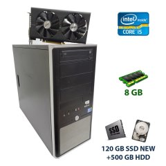 ATX Tower / Intel Core i5-750 (4 ядра по 2.66 - 3.2 GHz) / 8 GB DDR3 / 120 GB SSD NEW + 500 GB HDD / AMD Radeon RX 470, 4 GB GDDR5, 256-bit / 500W new