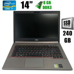 "Fujitsu LifeBook E744 / 14"" (1600x900) / Intel Core i7-4702MQ (4(8)ядра по 2.2 - 3.2GHz) / 8GB DDR3 / new! 240GB SSD / VGA, DP, USB 3.0, WebCam"