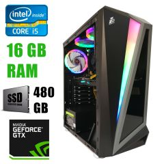 First Player Tower / Intel Core i5-2400 (4 ядра по 3.1-3.40GHz) / 16GB DDR3/ 480GB SSD NEW / БП 1300W NEW / GeForce GTX 1060 3Gb DDR5 192bit / HDMI, DVI, DP