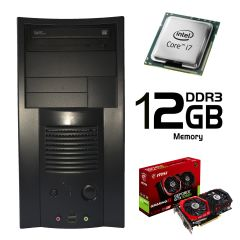 ATX  / Intel Core i7-2600 (4 ядра, 8 потоков, 3.4-3.8 GHz) / 500 GB HDD / 12 GB DDR3 / Palit GeForce GT 1050 Ti 4 GB GDDR5 (HDMI, DVI, DP) / FSP 400W