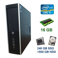 HP Compaq Elite 8300 SFF / Intel Core i5-3470 (4 ядра по 3.2 - 3.6 GHz) / 16 GB DDR3 / 240 GB SSD+500 GB HDD / USB 3.0