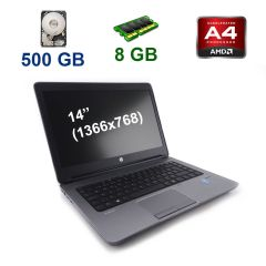 "HP ProBook 645 G1 / 14"" (1366x768) TN LED / AMD A4-4300M (2 ядра по 2.5 - 3.0 GHz) / 8 GB DDR3 / 500 GB HDD / WebCam / USB 3.0"