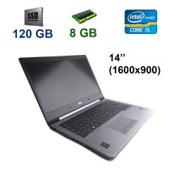 "Fujitsu LifeBook U745 / 14"" (1600х900) LED / Intel Core i5-5200U (2 (4) ядра по 2.2 - 2.7 GHz) / 8 GB DDR3 / 120 GB SSD / WebCam / USB 3.0"